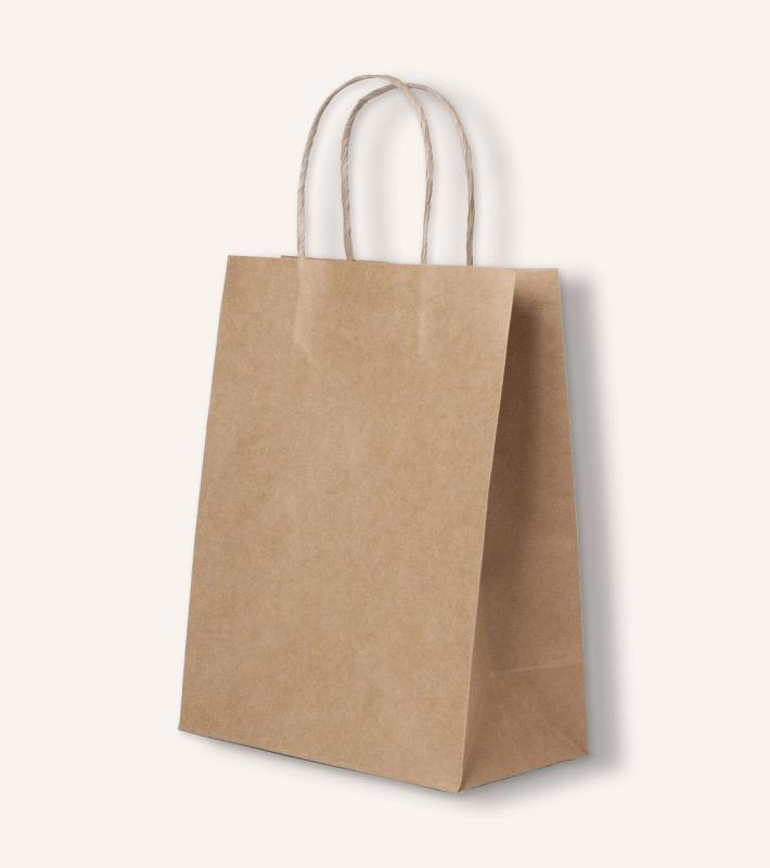 Крафт пакет с кручеными ручками (бурый)