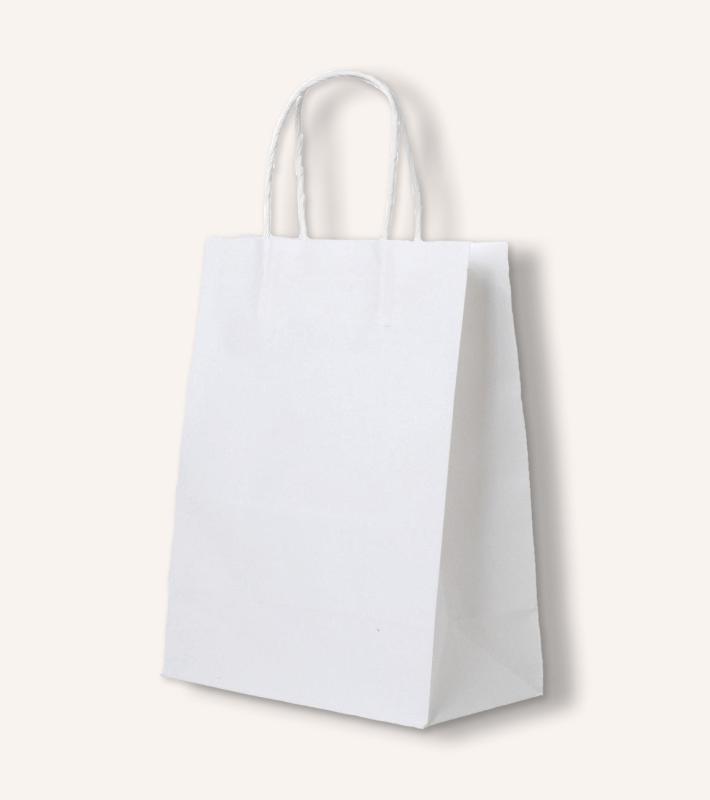 Крафт пакет с кручеными ручками (белый)