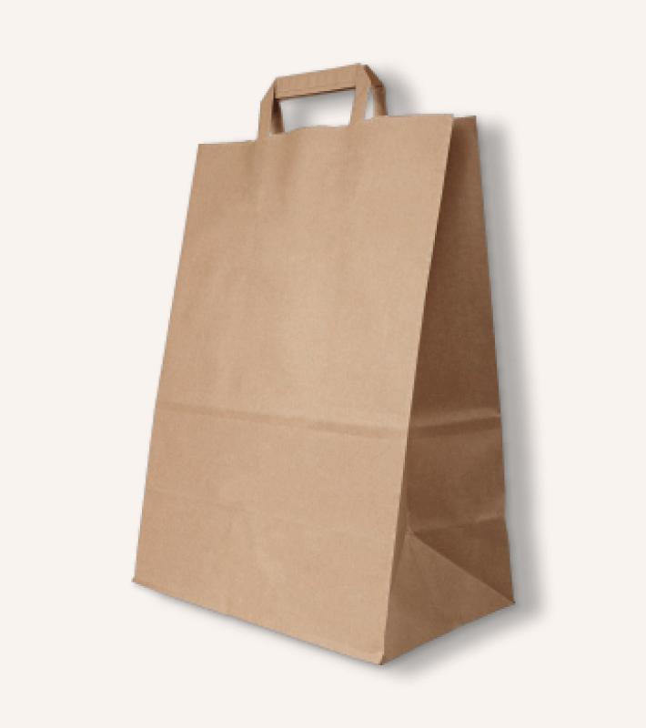 Крафт пакет с плоскими ручками (бурый)