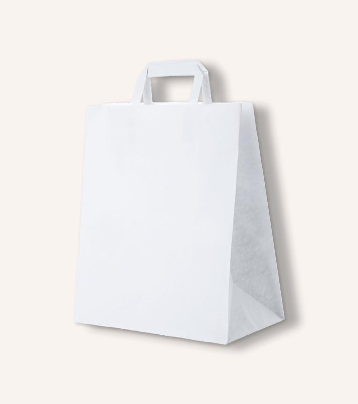 Крафт пакет с плоскими ручками (белый)
