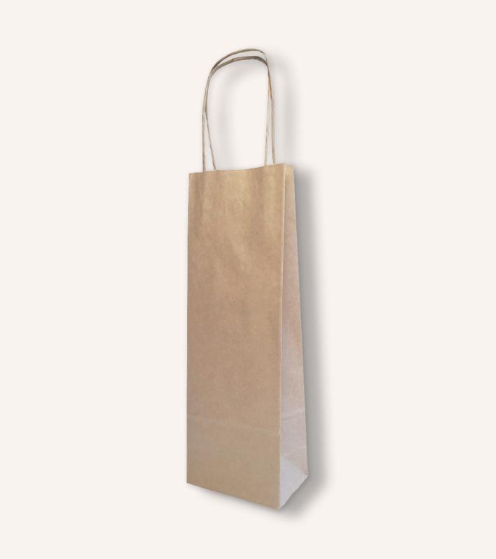 Крафт пакет под бутылку с кручёными ручками (бурый)