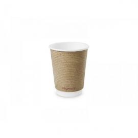 Двустенный стакан для горячих напитков из коричневой крафт-бумаги и кукурузного крахмала