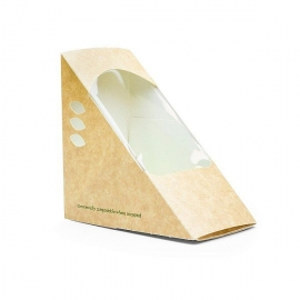Коробка для сэндвичей треугольная из крафт-картона с окошком